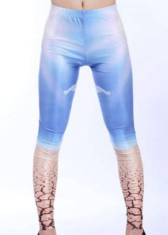 Autumn Middle Elastic Waist Blue Sky Pattern Leggings – teeteecee - fashion in style