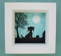 #Dog #Picture: #Framed Dog #Art, Dog #Silhouette, Dog #Gift, Dog Tree #Moon #Drawing Art £15.00