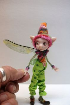 ooak poseable  little ELF fairy  ( 75 ) pixie polymer clay art doll by DinkyDarlings by DinkyDarlings on Etsy