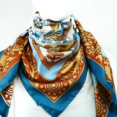 FEATURED Authentic Hermes Silk Scarf Early America with Hermes Scarf Box UNWORN