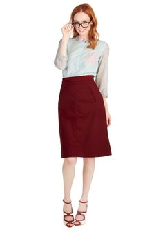Aptitude for Anthropology Skirt in Wine. Taking the podium in this wine-red skirt by Pink Martini, you feel cool and confident, ready to enlighten your students and kickstart their studies! #red #modcloth