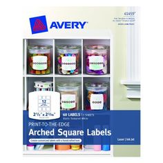 Avery Print-to-the-edge Arched Square Labels, Matte, 2.5 X 2.31, Pack Of 60 (41459) Avery http://www.amazon.com/dp/B00BJ65IOM/ref=cm_sw_r_pi_dp_BKwqub09HPK4M