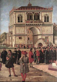 CARPACCIO, Vittore The Ambassadors Return to the English Court (detail) 1495-1500 Tempera on canvas Gallerie dell'Accademia, Venice
