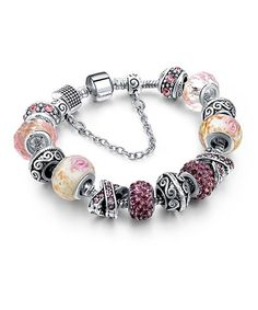 Love this Pink Murano Glass Beaded Bracelet with Swarovski® Crystals on #zulily! #zulilyfinds