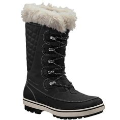 Helly Hansen Women's Garibaldi Faux Fur-Lined Mid-Calf Snow Boots ($150) ❤ liked on Polyvore featuring shoes, boots, black, black snow boots, waterproof boots, water proof boots, faux fur lined boots and black waterproof boots