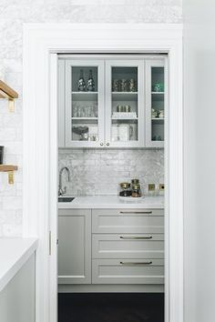 NEWTOWN HOUSE - KITCHEN & SCULLERY | The English Tapware Company Gorgeous Kitchens, Bathroom Medicine Cabinet, House, Splashback, Cabinetry, Kitchen Taps, Home Kitchens, Interior Design, White Bench