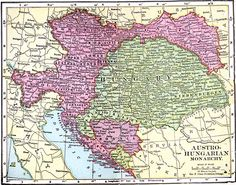 Map of A map showing the territories of the Austro–Hungarian Monarchy in including major cities and towns, railroads, and rivers.This map refers to Transylvania as Siebenburgen. Budapest, Hallstatt, Austro Hungarian, Fantasy Map, Central Europe, Family History, Vintage World Maps, 1, Empire