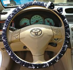 Steering Wheel Cover Navy & White Anchor Fabric w/White Bow, Teen, Girl, Women, Gifts, Car, Auto accessories, Anchor, Sailor on Wanelo