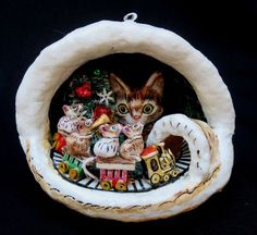 Signed Paper Papier Mache Diorama Christmas Ornament By Artist Jan Zimmer