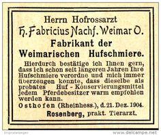 Original-Werbung/Anzeige 1905 -  WEIMARISCHE HUFSCHMIERE/ FABRICIUS - WEIMAR…
