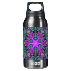 Mandala From Center Colorful Fractal Art With Pink Insulated Water Bottle