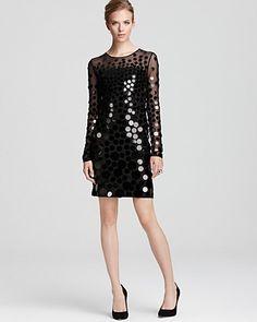 BCBGMAXAZRIA Paillette Dress - Ayla Long Sleeve | Bloomingdale's