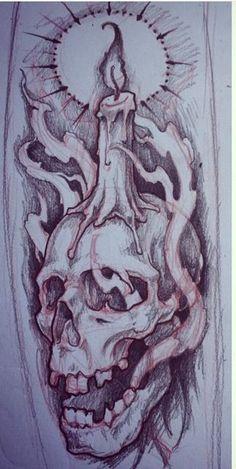 Tattoo Design Drawings, Skull Tattoo Design, Tattoo Sleeve Designs, Skull Design, Skull Tattoos, Tattoo Sketches, Body Art Tattoos, Sleeve Tattoos, Dragon Tattoos