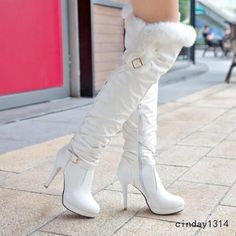 Women'S Winter Fur Top Over The Knee Boots Stiletto High Heels Zip Fashion Shoes White Boots, Sexy Boots, White High Heel Boots, Thigh High Boots, Over The Knee Boots, Sexy Stiefel, Long Boots, High Heels Stilettos, Stiletto Heels