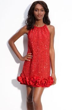 Love, Carmen Sequin Tulle Trapeze Dress in Red -- This is one of the few times I like sequined. Often, I see it done in a tacky way or just not well done at all, but this suits my taste perfectly. Beautiful color, good style, well crafted. (Nordstrom)