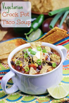 Vegetarian Taco Soup Crock Pot Recipe- made in slow cooker.  So simple, healthy and delicious! Top with tortilla chips, greek yogurt, sour cream or cheese OR leave vegan.  The perfect dump and forget dinner or meal.| Running in a Skirt