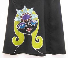 Plus size Skirt, Hand painted skirt, art to wear skirt, wearable art skirt, a line, AU 18 uk 16 US 14, black, upcycled, OOAK one of a kind by Rethreading on Etsy