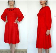Red Vintage Dress from 60' or 70' RED with lace hande