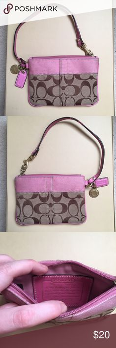 Coach Signature Wristlet Previously owned Coach Signature Wristlet. Pink, tan, and brown canvas material with leather trim. Gold tone hardware, top zipper closure. Gentle signs of use, see pictures. Please contact with any questions. :) Coach Bags Clutches & Wristlets