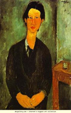 Chaim Soutine (1893-1943) French artist of Jewish origin, born in Smilovich, Russian Empire, now Lithuania. He studied at Vilna, then went to Paris. He is best known for his paintings of carcasses, his series of Choirboys (1927) and the magnificent psychological study  The Old Actress (1924; Moltzau collection, Norway). After his death his vivid colors and passionate handling of paint gained him recognition as one of the foremost Expressionist painters. Amedeo Modigliani. Portrait of Chaim…