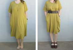 This easy knit lounge dress pattern will have you sleeping and hanging out in comfort and style! Wear it alone around the house or dress it up with a belt. Simple Dress Pattern, Girl Dress Patterns, Blouse Patterns, Skirt Patterns, Maxi Dress Tutorials, Breastfeeding Dress, Make Your Own Dress, Diy Dress, Simple Dresses