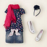 For girls. Scarf is great! The skirt though,, I would find all blue denim. Any light colored spots will come forward in the photo and people will look at that and not faces...