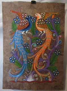 Hand painted Amate bark paper, birds-deer-flowers-purple tree, Mexico Mexican Artwork, Mexican Paintings, Mexican Folk Art, Purple Trees, Metal Wall Art Decor, Letter Patterns, Elements Of Art, Tribal Art, Art Pictures