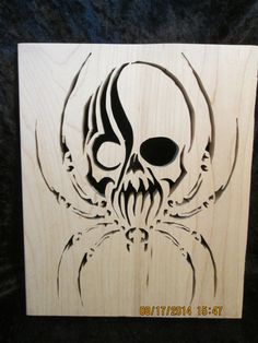 Skull Spider Wall Hanging - Goth - Halloween - Scarey - decoration by PXWoodNJoys on Etsy