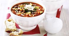 Ladle this steaming-hot soup into big bowls, add a pinch of parmesan then mop up every last skerrick with fresh crusty bread. Soup Recipes, Whole Food Recipes, Cooking Recipes, Healthy Recipes, Healthy Meals, Hot Soup, Quick Dinner Recipes, Soup And Sandwich, Winter Food