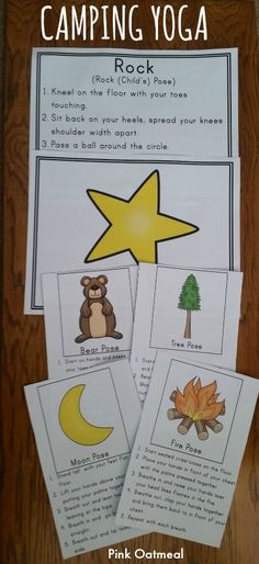 Camping Yoga- Perfect for brain breaks, stations, with a camping theme and in therapies!  I can't wait to use this!