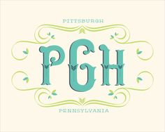 PGH Spring Monogram - Melissa Frost http://melissafrostdesign.com/