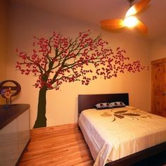Cherry Blossom Bedroom Wall Mural Design