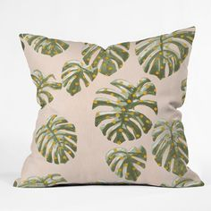 "East Urban Home Dash and Ash Palm Oasis Indoor/Outdoor Throw Pillow Size: 16"" H x 16"" W x 4"" D"