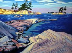"Paul Gauthier Hand Signed and Numbered Limited Edition Giclee Canvas:"" Spring Wind - Georgian Bay "" Artist: Paul Gauthier Title: Spring Wind - Georgian Bay Size: x / x / x About the Art: After studying Architectural Technology at Ry Landscape Drawings, Cool Landscapes, Abstract Landscape, Landscape Paintings, Landscape Watercolour, Tree Paintings, Seascape Paintings, Landscape Design, Canadian Artists"