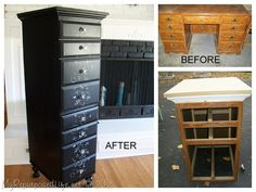 Before, during & after the amazing transformation of an old desk into a tall dresser.