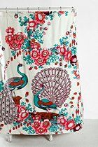 Floral Peacock Shower Curtain, $30  #UrbanOutfitters  And one of the trillion shower curtains they sell that I want. ;__;