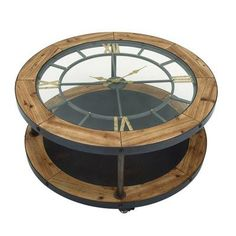 Cole & Grey Metal and Wood Clock Coffee Table