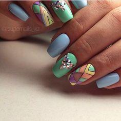 Beautiful nail colors, Festive nails, Fresh nails, Geometric nails ideas, Jeans nails, Long nails, Nails ideas 2017, Stylish nails