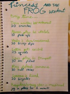 Princess and the Frog workout omg gotta do this I'd burn some serious calories considering how many times I've watched this movie