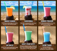 Yummm alcoholic smoothies :) perfect for on the beach Party Drinks, Fun Drinks, Funny Cocktails, Beverages, Smoothie Drinks, Fruit Smoothies, Refreshing Drinks, Summer Drinks, Edible Food