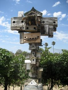 Birdhouses from the Newport Beach Winery made from pallet wood and wine crates
