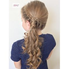 4 strand lace braids wrapped around a side ponytail with curls - Hair Tutorials Side Ponytail Hairstyles, Side Braid Ponytail, Flower Girl Hairstyles, Ponytail Styles, Little Girl Hairstyles, Hair Styles, Side Ponytails, Hair Ponytail, Wedding Hairstyles