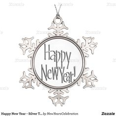 #HappyNewYear - Silver Text Snowflake Pewter #ChristmasOrnament by #NewYearsCelebration #gravityx9 #Zazzle -