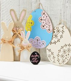 Decorate your place for Easter with these cute wooden bunnies and Easter eggs. | DIY Wooden Easter Bunny | DIY Wooden Easter Eggs | Painted Eeaster Eggs