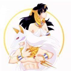 Ancient Egypt-style InuYasha and Kagome! Credits to the artist Sesshomaru Y Rin, Inuyasha And Sesshomaru, Kagome And Inuyasha, Kagome Higurashi, M Anime, Anime Love, Anime Art, Anime Comics, Geeks
