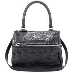 Givenchy Pandora Small Leather Shoulder Bag ($1,925) ❤ liked on Polyvore featuring bags, handbags, shoulder bags, black, givenchy handbags, 100 leather handbags, genuine leather handbags, real leather handbags and real leather purses