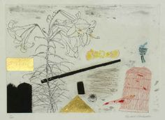 Elizabeth Blackadder, Still Life with Lily and Flute, etching with gold leaf applied