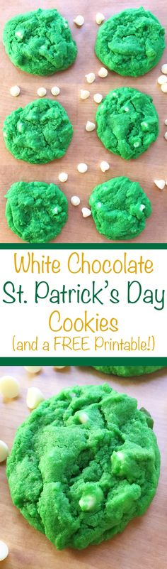White Chocolate St. Patrick's Day Cookies   This White Chocolate St. Patrick's Day Cookie recipe is a perfect option for the upcoming holiday, or just to satisfy your sweet teeth! PLUS, there's a FREE Printable Recipe and Resource List for your cookie making project. Who knew green cookies could look (and taste!) so good? Click through for the full recipe and for your free printable!   SeasonlyCreations.com   @SeasonlyBlog