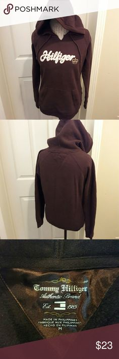 Tommy Hilfiger - Brown hoodie In perfect condition. Has a cute gold foil crown on the chest. Very soft and warm. Perfect for winter! From a smoke and pet free home. Fast shipping!  *No trades *All offers considered  *I take offers on bundles and single items Tommy Hilfiger Tops Sweatshirts & Hoodies