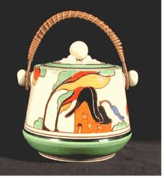 """Biscuit Barrel in the Orange House pattern.   """"Bizarre Fantasque by Clarice Cliff""""."""